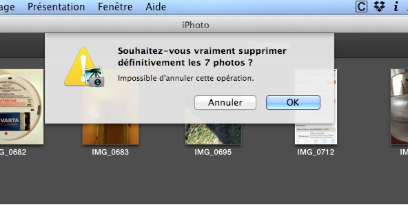 vider la corbeille iphoto mac